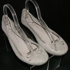 GAP fabric gray wool bow classic ballet flats 10M